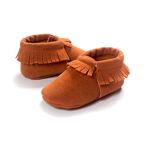 ZOEREA Super weich Rauleder Anti-Rutsch Lauflernschuhe Krabbelschuhe Babyschuhe Kinderschuhe Krippe Schuhe für Laufanfänger Baby Mädchen Jungen 0-18 Monate Gelb