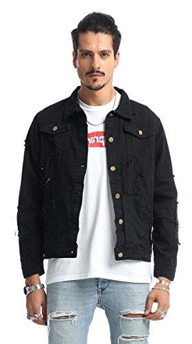 Pizoff unisex Hip Hop Jeansjacke aus Denim in auffälliger Distressed-Optik verwaschenem mit Einsatz und schwarz Gotik Druckmuster Rückseite (Jean Hop Jacke Hip)