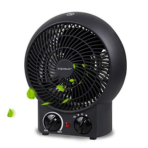 Aigostar Airwin Black 33IEL - Ventilateur de table de 2000W avec régulateur de température et de puissance. Chauffage soufflant,Protection contre la surchauffe. Couleur noir. Design exclusif.