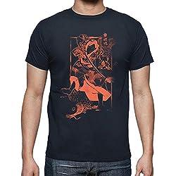 latostadora - Camiseta Samurai y Carpa para Hombre Azul Marino M