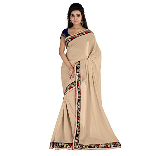 Florence Beige Chiffon Embroidered Saree  available at amazon for Rs.932