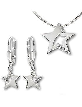CLEVER SCHMUCK-SET Silberne Ohrhänger 24 mm Stern 9 mm matt und glänzend, teils offen mit Zirkonias, passender...
