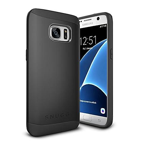 Coque Galaxy S7, Snugg Samsung Galaxy S7 Double Couche Case Housse Silicone [Bouclier Légère] Etui de Protection – Noir, Infinity Series