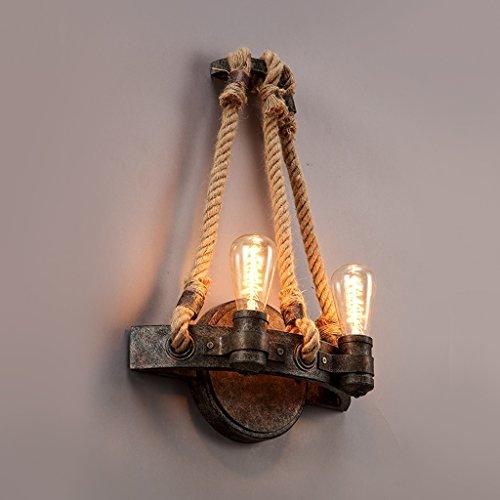 Persönlichkeit Retro Wandleuchten Amerikanisches Land Eisen Eisen Strick Wand Lampe Doppel Kopf Retro Korridor Restaurant Bett Nachttisch Lampe Wand Lampe Wandleuchte YANGFF- Wandleuchten (Bett-köpfe)