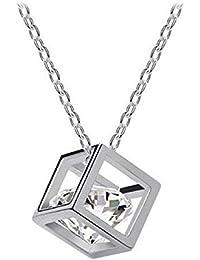 Malloom® Strass Cristal De La ChaîNe Des Femmes Pendentif Carré Collier En Alliage Bijoux