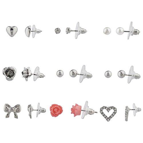 lux-accessories-lot-de-9-paires-de-boucles-doreilles-motifs-fleurs-curs-et-nuds-argent