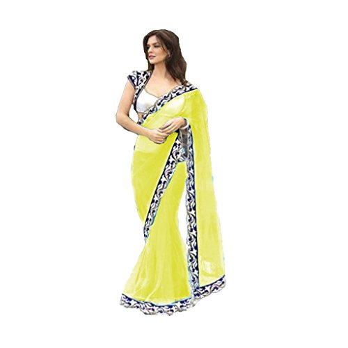 Fashion And Hub Net Saree With Blouse Piece (Fah_Jalpariyellow01_Yellow_Free Size)