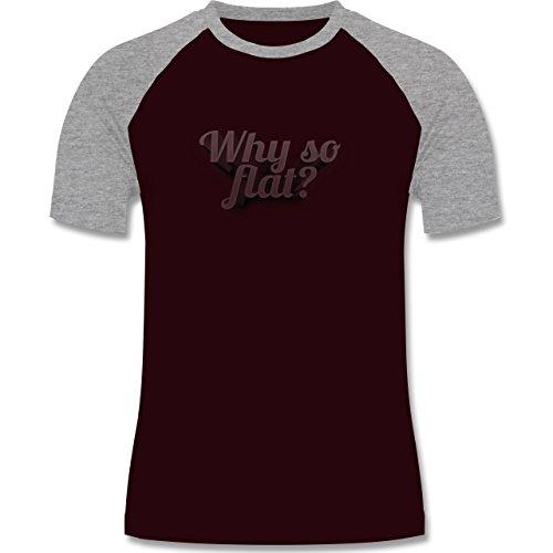 Statement Shirts - Why so flat? - zweifarbiges Baseballshirt für Männer Burgundrot/Grau meliert