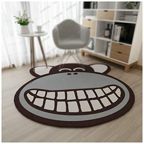 XiuXiu Nette Karikatur-AFFE-runder Teppich Kinderzimmer Wohnzimmer Couchtisch Schlafzimmer Garderobe Schwenker (Größe : 120cm) - Runde Garderobe
