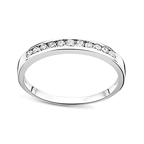 Diamada Femme or blanc en diamant memoire bague 9kt (375) brillant 0.2cts