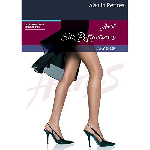 Hanes Silk Reflections Control Top Sheer Toe Pantyhose Classic Navy