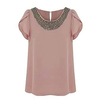 Women Ladies Elegant Flounced Short Sleeve Top Tee Beaded Neckline Chiffon Blouse Shirt 5 SIZE Pale Pink