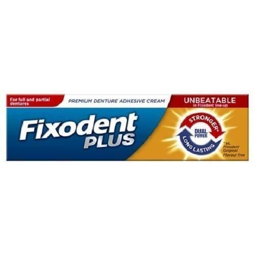 SIX PACKS of Fixodent Plus Dual Power Denture Adhesive Cream 40g