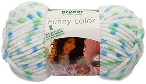Gründl Funny Color 100 Gramm Softgarn kuschelliges Garn aus 100% Polyester (04 Mint Blau Weiss Mix) (04-garn)