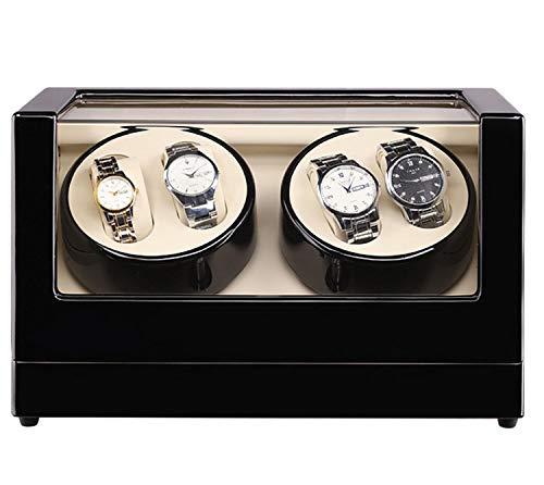 QHCGOOD Automatischer Uhrenbeweger , Große Kapazität 4 Modi Timer-Funktion PU Leder Rotation Uhren Aufbewahrungsvitrine Box Geeignetes Geschenk - Leder-optionen-beenden