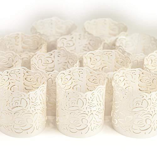 Led Papier Votiv Kerzenständer Teelichthalter 48 Weiße Farbige Dekorative Kerzenhalter / Halter für Flammenlose Teelichter und Votivkerzen