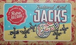 Traditional Metal Jacks Family Game With Two Bouncy Balls Instructions And Cloth Carry Bag
