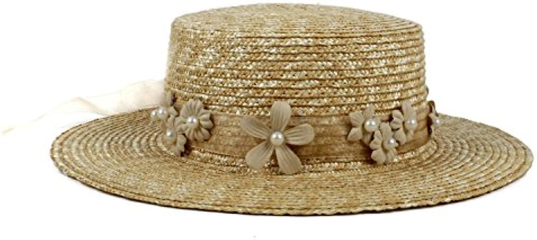 GHC Cappelli e cappellini Cappello da sole Summer per Lady Summer sole  Beach Cappello piatto da Laisla fashion Guanti In Pelle Neri ... 1a29a0af44bd