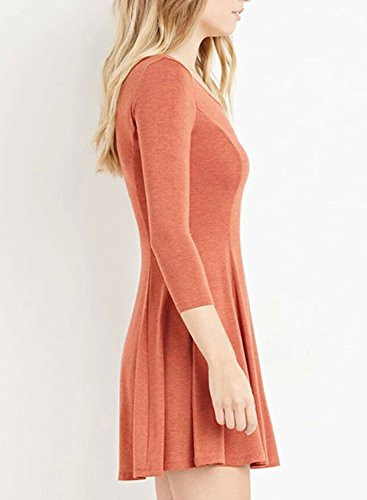 Azbro Women's Solid Color 3/4 Sleeve Empire Dress Corail