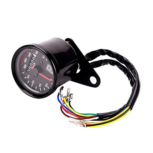 Gazechimp Motorrad Geschwindigkeitsmesser ntfernungsmesser mit LED Anzeige - Schwarz