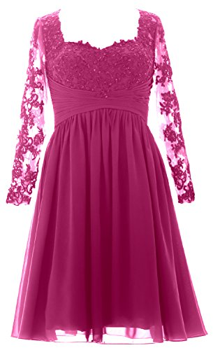 MACloth Vintage Long Sleeves Mother of Bride Dress Short Evening Formal Gown Fuchsia
