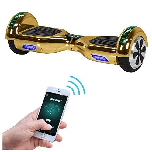 Robway W1 Hoverboard - Das Original - Samsung Marken Akku - Self Balance - 22 Farben - Bluetooth - 2 x 350 Watt Motoren – App - Led (Gold Chrom)