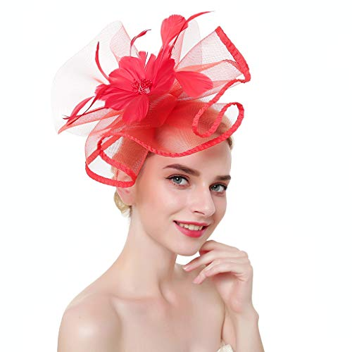 by Tea Party Fascinator Hut große Rüschen Blume Feder Perlen Hochzeit Braut Kontrast farbige US Flag Headwear Clip ()