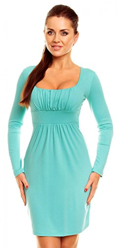Zeta Ville - Damen Jersey Empire-Taille Kleid Langarm Elegantes Etuikleid - 931z Minze