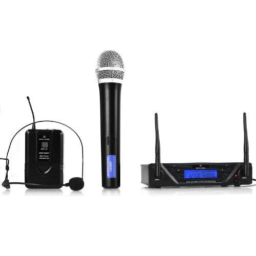 Malone UHF-450 Duo microfoni Senza Fili (1 Microfono ad Archetto, 1 Microfono da Mano, uscite XLR e Jack-AUX, 2 canali UHF, Display LCD, Cavo di Alimentazione) - Nero