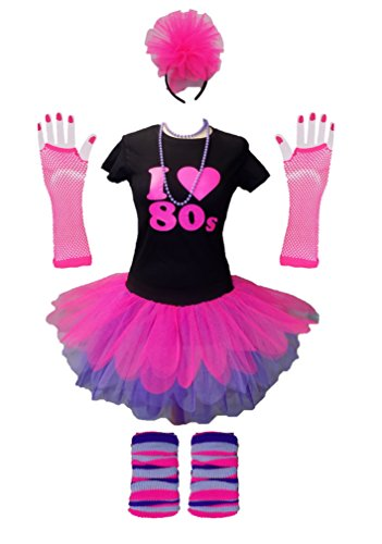 * NEW * Honey B's Pink I Love the 80s Ladies Tutu Top Party Set, XS to XXXL