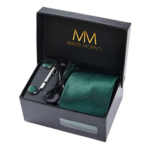Massi morino ® set cravatta + gemelli + fazzoletto + fermacravatta - cucita a mano in microfibra (verde scuro)