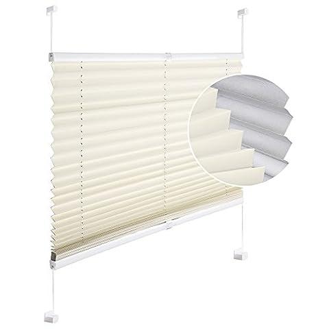 WOLTU #393 Plissee Jalousie Klemmfix ohne Bohren für Fenster und Tür , ULTRA blickdicht mit Licht-Stop Beschichtung , beinah zu 100% abdunkelnd , Verdunklungsplissee Thermoplissee Faltrollo verspannt easyfix , Sichtschutz Sonnenschutz , 80x220 cm , Creme