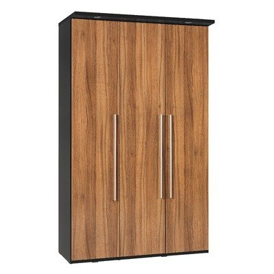 Argento Three Door Wardrobe in Black and High Gloss Walnut