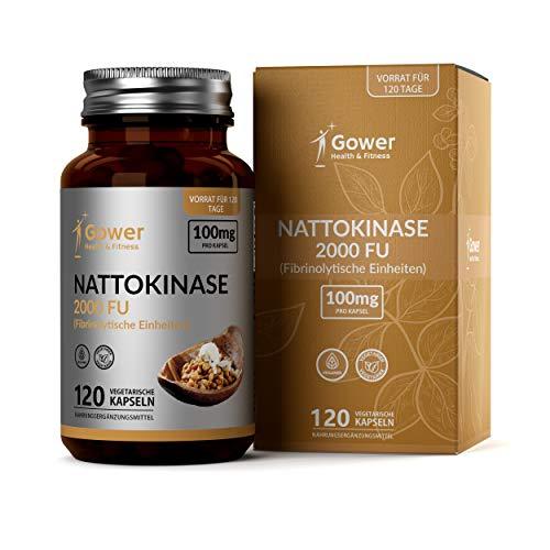 Nattokinase-Kapseln - Enzyme aus Natto (fermentierten Sojabohnen)   120 vegane Kapseln   Proteolytische Enzyme   Entzündungshemmende Tabletten - Vegan, ohne Gluten und GVO
