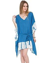 Blau Kaftan mit V-Ausschnitt und Batik-Druck
