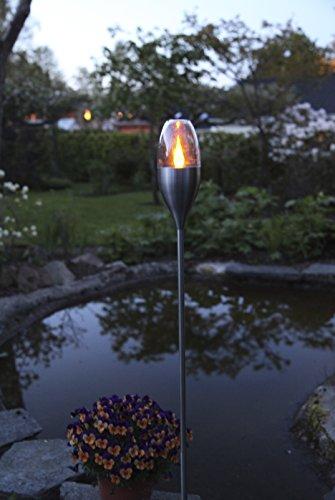 Kamaca XL LED SOLAR Fackel Wegeleuchte Gartenleuchte in Edelstahl Höhe ca. 110 cm mit 1 Amber LED inklusive Erdspieß