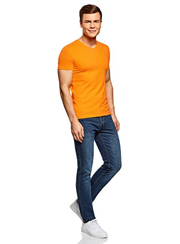 oodji Ultra Herren Tagless T-Shirt Basic mit V-Ausschnitt Orange (5500N)