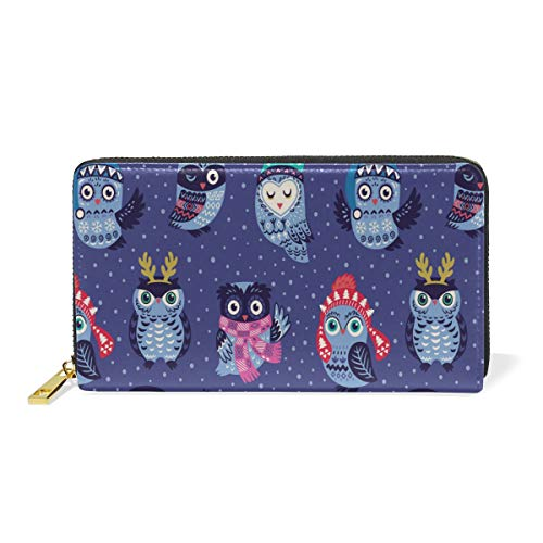 Womens Ladies Leather Large Capacity Wallet Purse Handbag,Christmas Seamless Pattern with Cute Owls in Knitt Long Wallet Purse Credit Card Slots Coin Clutch Zipper Bag