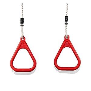 HIKS Products Hiks – Juego de 2 Anillas de Gimnasia para niños, Ajustables, para Paredes de Escalada y Columpios, Color Rojo