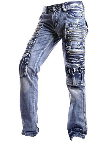 jeansian Herren Entwickelt Gerade Geschnittene Blue Jeans J002 W36 - Hohe Taille Bell-bottom-jeans