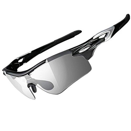 ROCKBROS Brille Photochromatische Polarisierte Sonnenbrille Radbrille Leicht(Schwarz)
