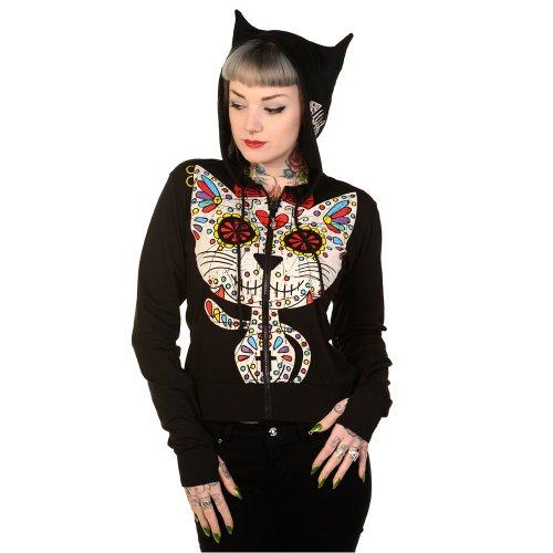 Banned Damen Hoodie - Sugar Kitty Sugar Skull Kätzchen Kapuzenjacke ()