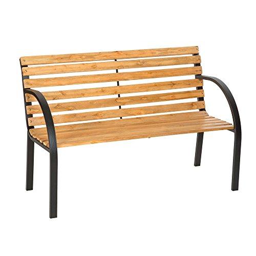 LD Gartenbank Eukalyptus Holz Gartenmöbel Parkbank Sitzbank Bank Metall Hartholz -