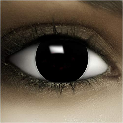 """Farbige schwarze Kontaktlinsen""""Black"""" + Kunstblut Kapseln + Behälter von FXCONTACTS, weich, ohne Stärke als 2er Pack – perfekt zu Halloween, Karneval, Fasching oder Fasnacht - 2"""