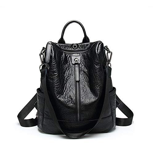 Ttzz 2019 weiblichen Rucksack Feminina Casual multifunktions Frauen Leder Rucksack weiblichen umhängetasche Reise Rucksack schwarz31 * 29 * 13,5 cm