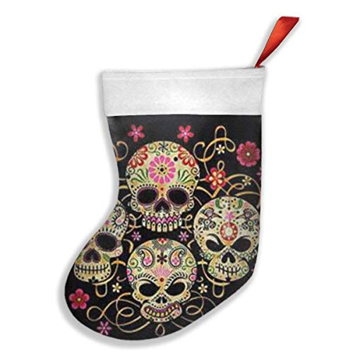 Fedso Day of The Dead Sugar Skull Xmas Christmas Strümpfe Xmas Party Kamtel Dekorationen Ornamente für Kinder Geschenk hält Strumpf Baum Ornament