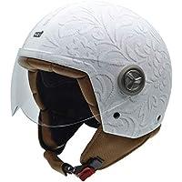 NZI 3D Vintage II Brocado White Casco de Moto, Fotografía Tejido Brocado Blanco, ...