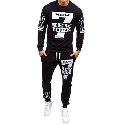Manadlian Herren Herbst Winter Gedruckt Sweatshirt Hemd+Hose Sätze Sportkleidung Trainingsanzug Brief Sweatshirt Suit