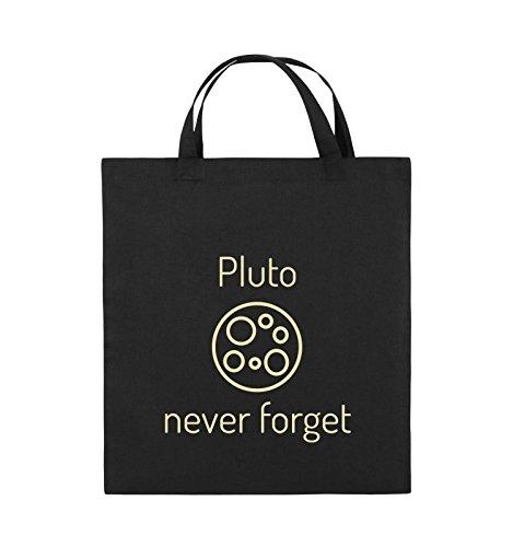 Borse Comiche - Pluto Mai Dimenticare - Borsa In Juta - Manico Corto - 38x42cm - Colore: Nero / Argento Nero / Beige