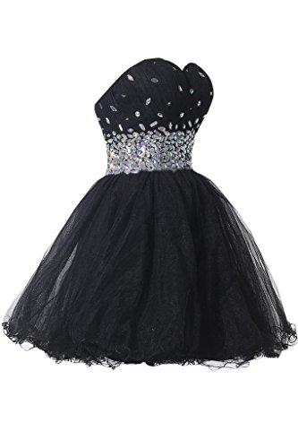 ivyd ressing robe Sweetheart pierres courte tuell Prom Cocktail robe robe du soir Schwarz